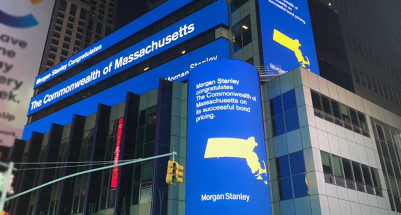 Times Square Morgan Stanley Billboard at Night Advertising Commonwealth Sale