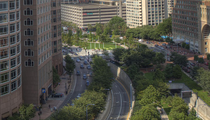 Aerial Shot of Downtown Boston Rose Kennedy Greenway
