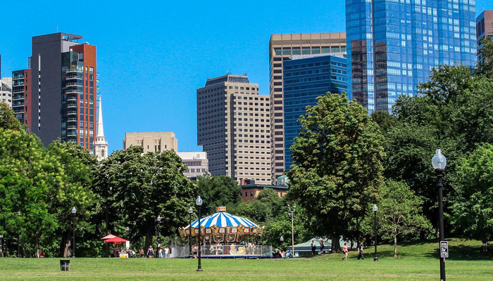 Sunny Park in Boston with Skyline