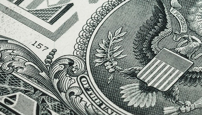 close up of US currency 1 dollar bill