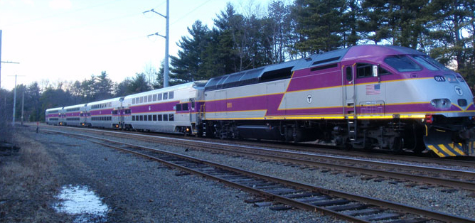 Commuter rail train in Massachusetts